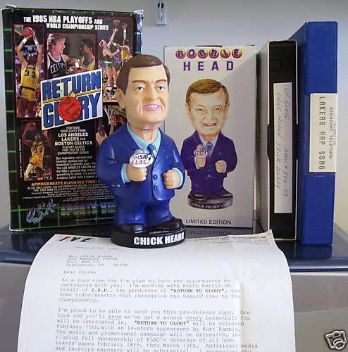 "Chick Hearn ""Return to Glory"" Bobblehead Set - BobblesGalore"