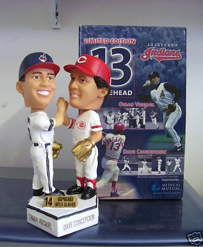 Omar Vizquel and Dave Concepcion Dual Bobblehead - BobblesGalore