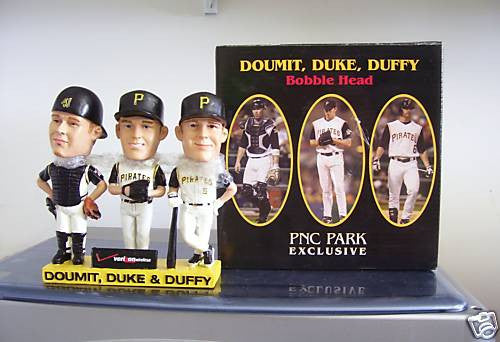 Doumit, Duke, and Duffy Triple Bobblehead - BobblesGalore