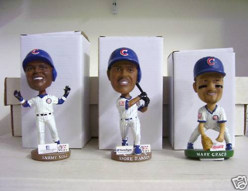 Andre Dawson Mark Grace Sammy Sosa Bobblehead Set - BobblesGalore