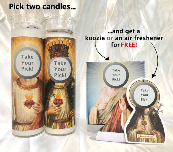 FREE Air Freshener OR Can Hugger Bundle (with purchase of 2 candles)!