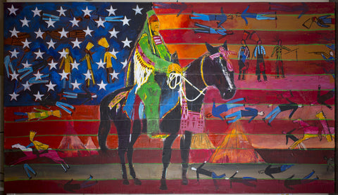 horse with flag
