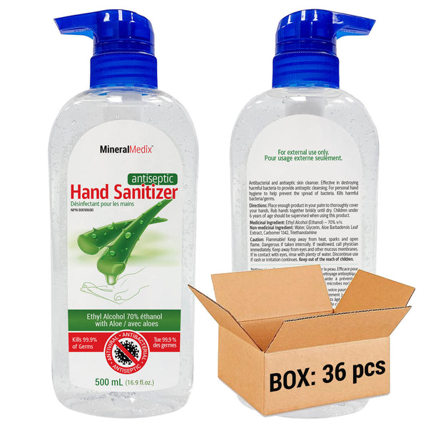 Antiseptic Hand Sanitizer 500ml with Pump, Case of 36pcs, $2.99ea