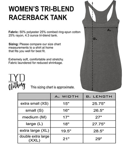 Women's Heather Gray Racerback Tank Top Size Chart