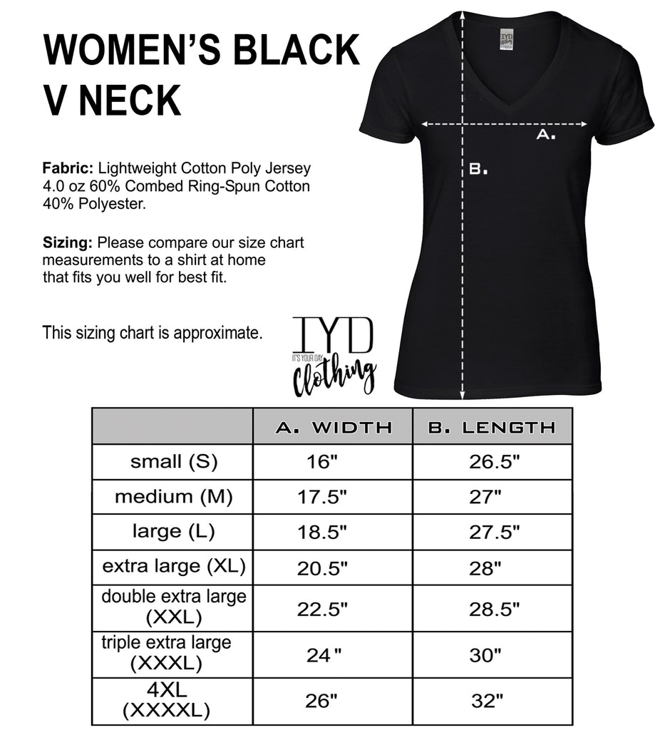 Women's Black  V Neck Size Chart - It's Your Day Clothing