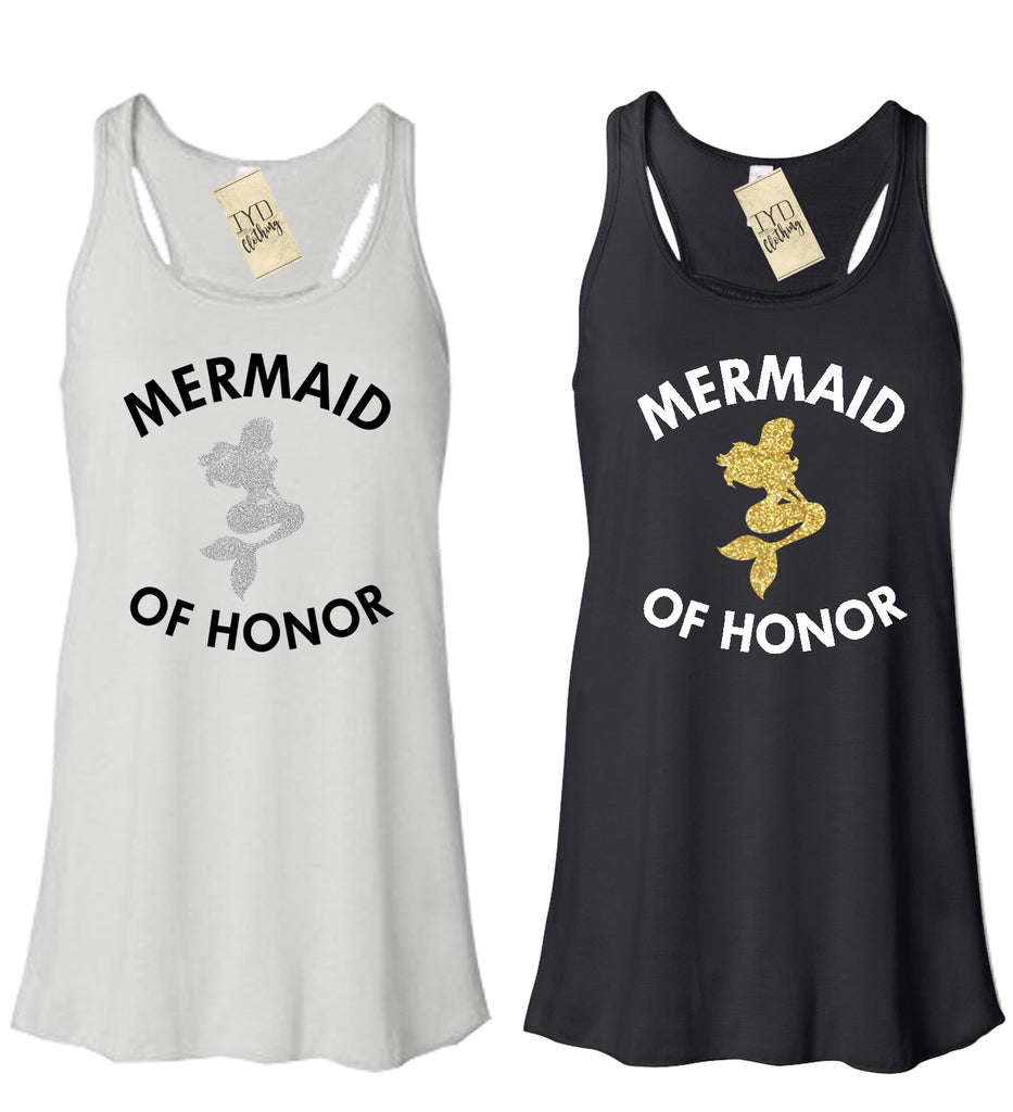 Mermaid of Honor Tank Top, Glitter, Mermaid of Honor Shirt, Bridal party, Bachelorette, Beach, Bride, Tropical, Bridesmaid, Honeymoon - It's Your Day Clothing