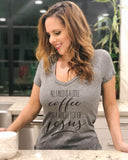 All I Need Is A Little Coffee And A Whole Lot Of Jesus V Neck - It's Your Day Clothing
