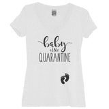 Baby In Quarantine White V Neck With Black Print - It's Your Day Clothing