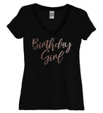 Rose Gold Birthday Girl Black Women's Shirt - It's Your Day Clothing
