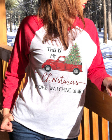 This Is My Christmas Movie Watching Shirt 3/4 Sleeve Raglan - It's Your Day Clothing