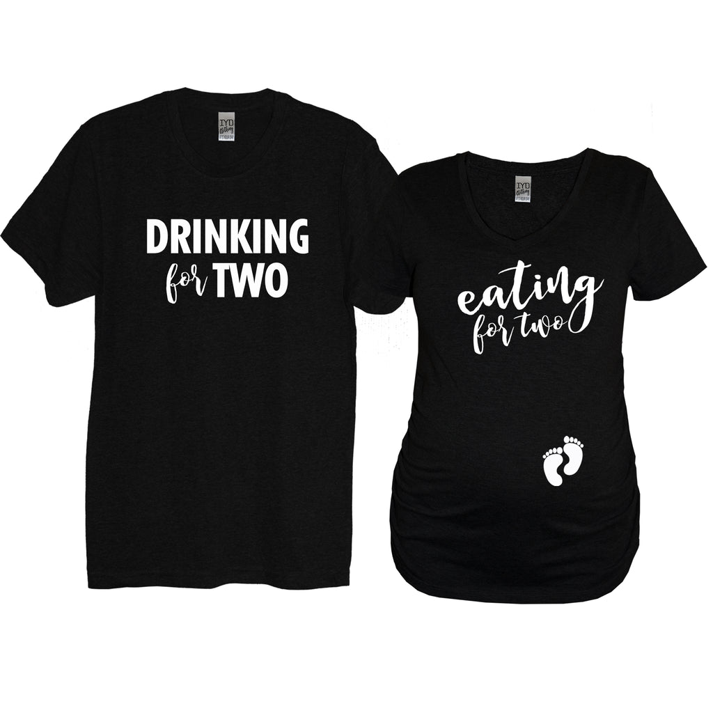 Black Drinking For Two  Crew Neck and White Eating For Two Maternity Shirt With Baby Feet On Belly - It's Your Day Clothing
