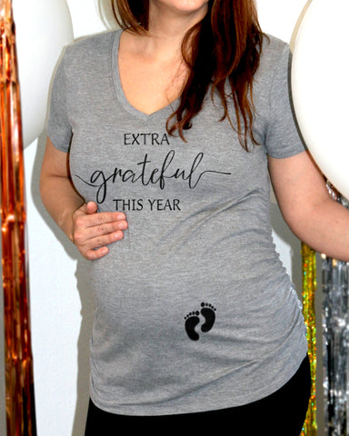 Extra Grateful This Year Maternity Shirt - It's Your Day Clothing