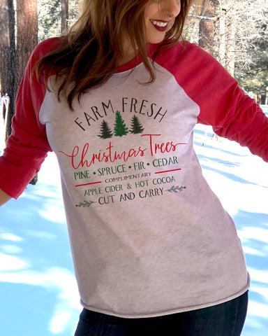 Farm Fresh Christmas Tree Raglan Shirt - It's Your Day Clothing