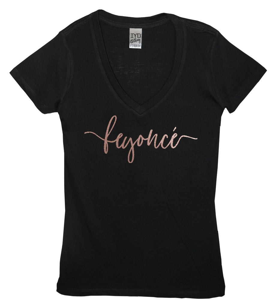 Rose Gold Feyonce Black Women's V Neck Shirt - It's Your Day Clothing