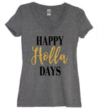 Happy Holla Days Glitter V Neck Shirt - It's Your Day Clothing