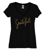 Grateful Gold Womens V Neck Shirt - It's Your Day Clothing