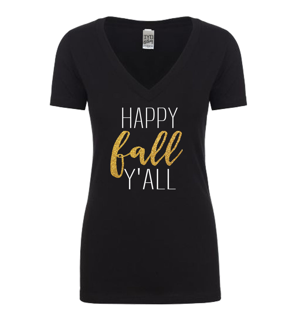 Happy Fall Y'All Glitter Shirt, Happy Fall Y'All Shirt, Thankful, Grateful, Fall Leaves, Seasons, Yall, Apples, Pumpkins, Foliage, Change - It's Your Day Clothing