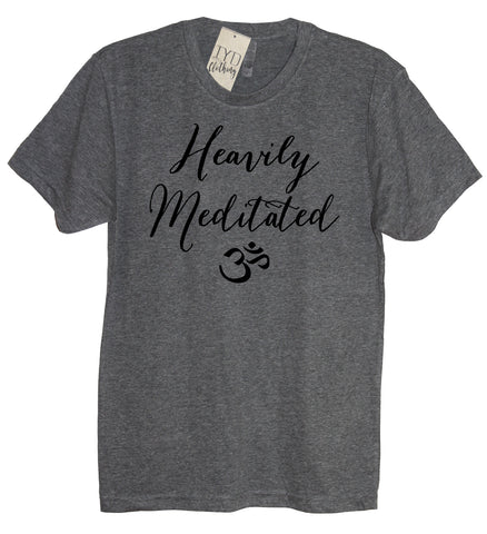 heavily meditated om heather gray crew neck t shirt