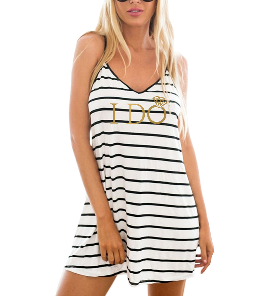 8b8da31b0b8 ... Gold I Do or I Do Crew Striped Beach Cover Up - It's Your Day Clothing  ...