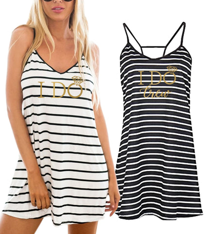 Gold Mrs. Striped Beach Cover Up