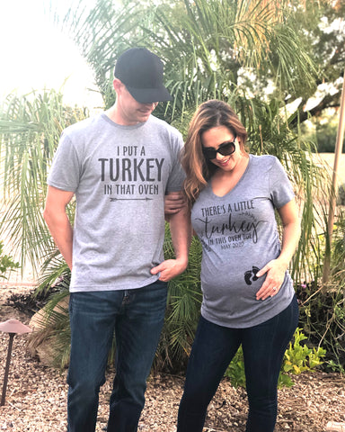 Turkey Maternity With Baby Feet Couple Shirt Set