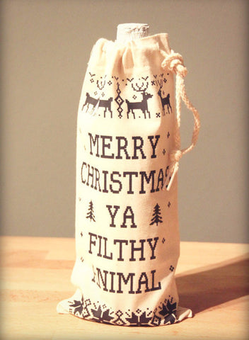 Merry Christmas Ya Filthy Animal Wine Bag - It's Your Day Clothing