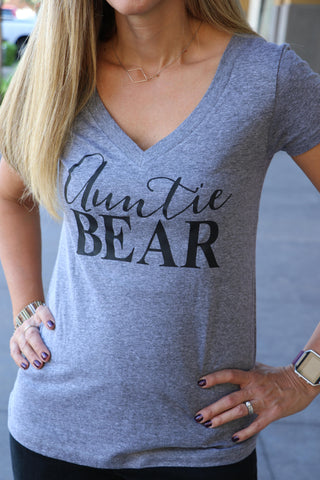 Auntie Bear V Neck Shirt - It's Your Day Clothing