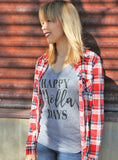 Happy Holla Days Womens V Neck Shirt - It's Your Day Clothing