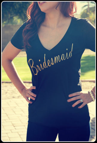 Black and Gold Bridesmaid Bridal Party Shirts - It's Your Day Clothing