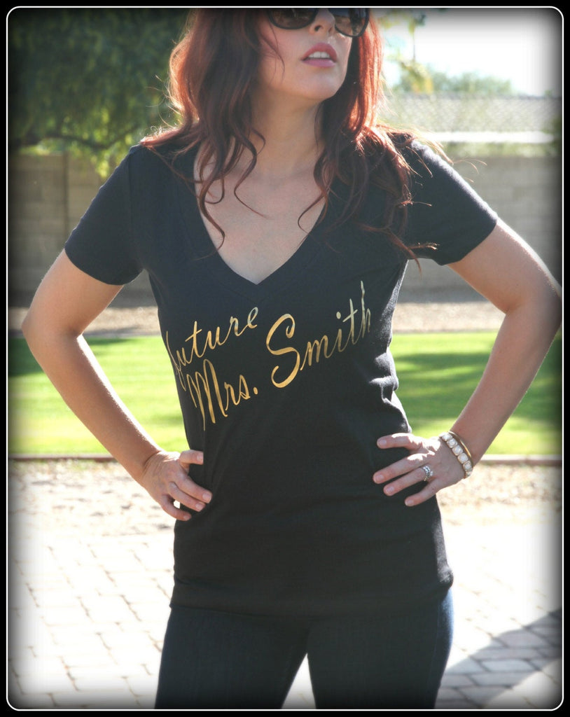 Black and Gold Future Mrs. ___ V Neck Shirt - It's Your Day Clothing