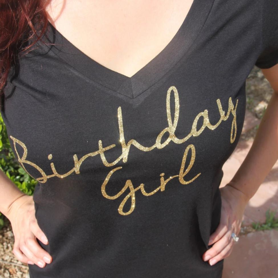 Glitter Gold Birthday Girl V Neck Shirt - It's Your Day Clothing