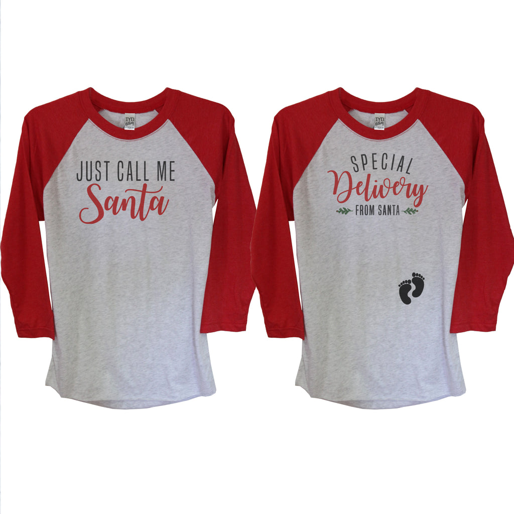 Just Call Me Santa And Special Delivery From Santa Raglan Couples Shirt