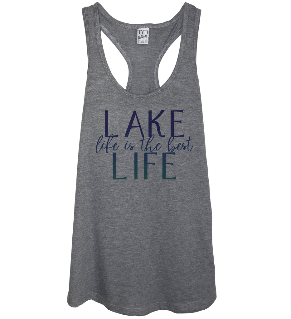 Heather gray tank blue gradient print lake life is the best life
