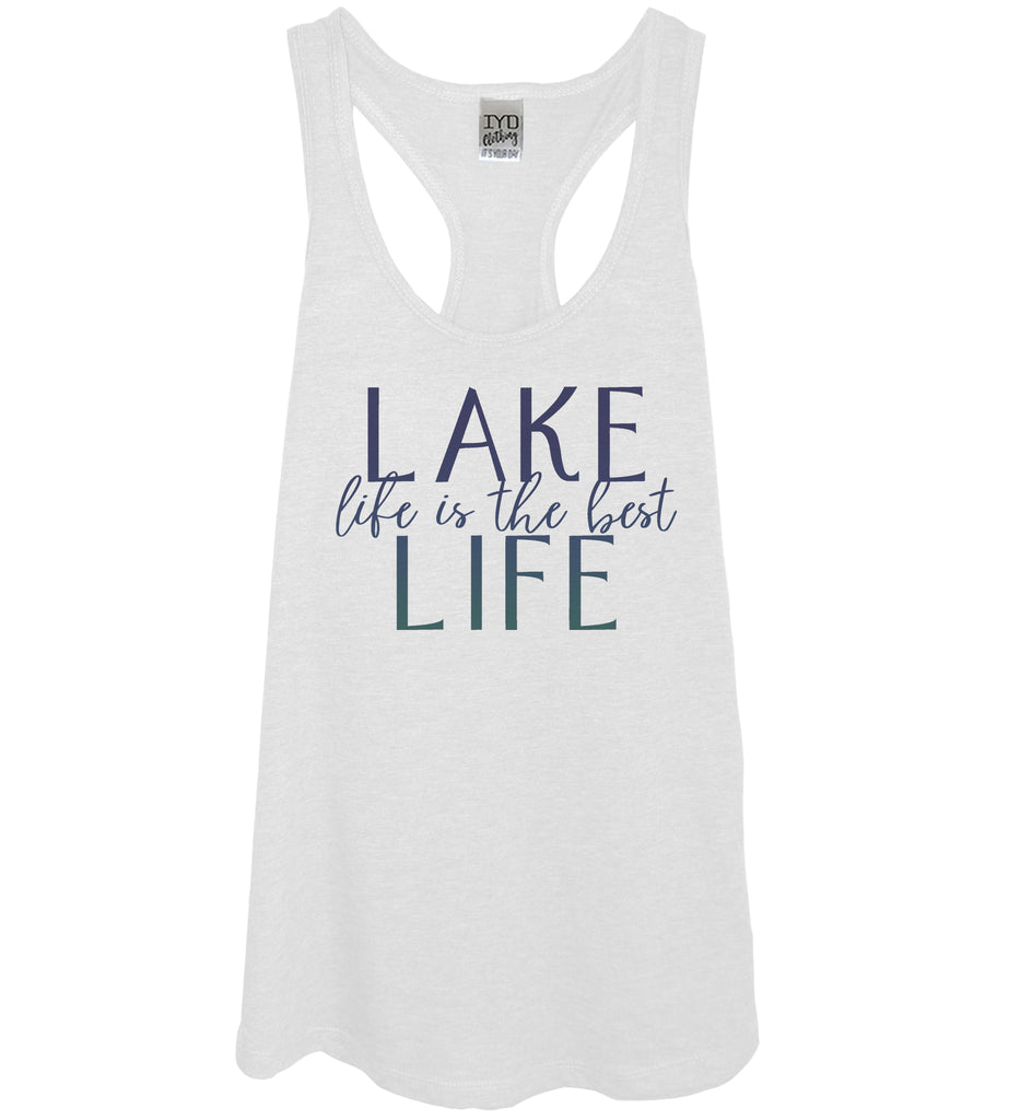 White tank blue gradient print lake life is the best life