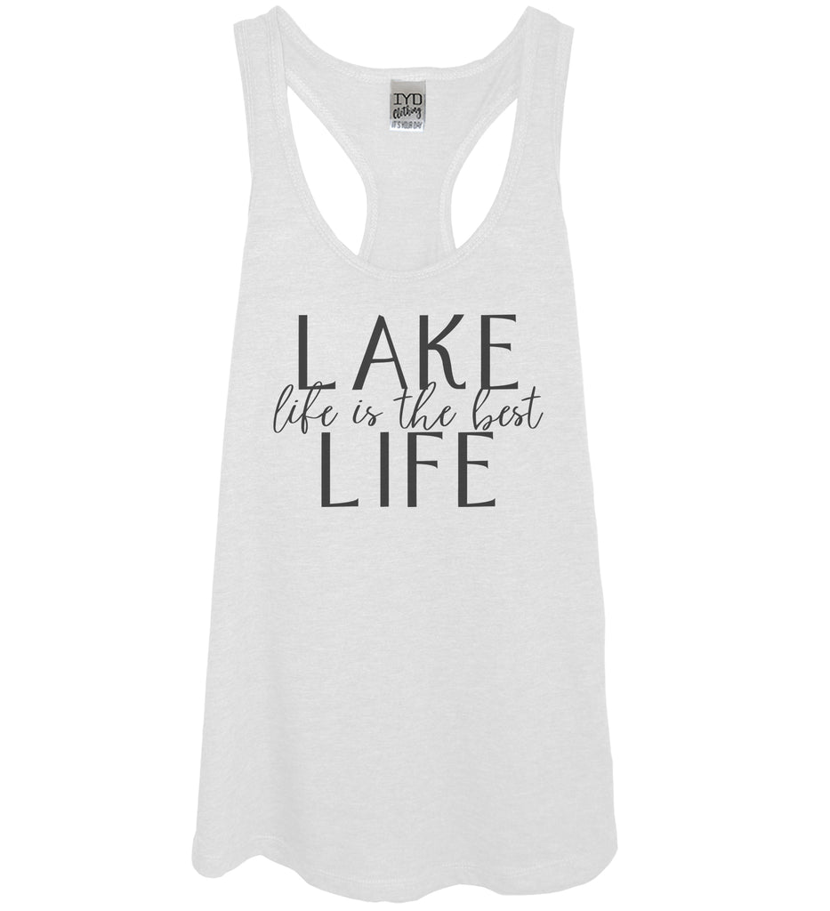 White tank black  print lake life is the best life