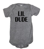 lil little dude onesie baby body suit gray