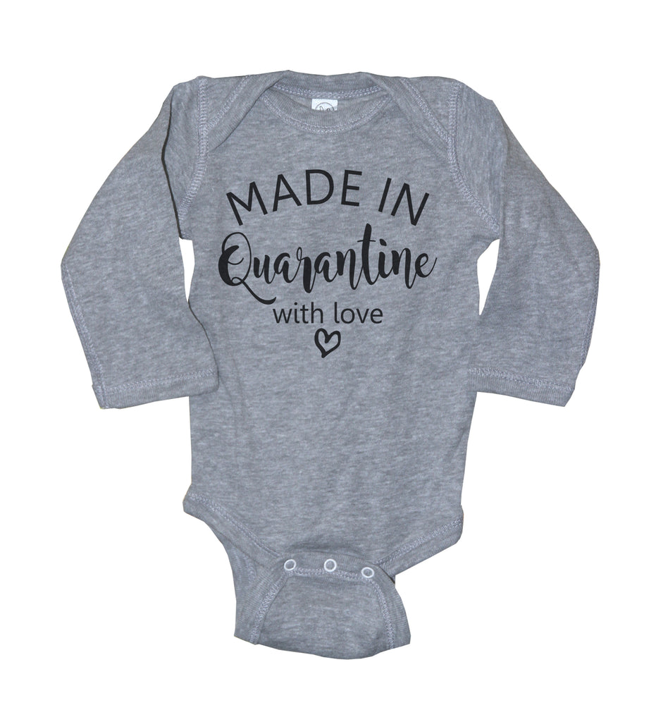 Made In Quarantine With Love Long Sleeve Baby Bodysuit - It's Your Day Clothing