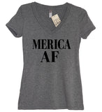 Merica AF Womens V Neck, America, Fourth of July, Memorial day, 4th of July, American Flag, Summer Tank Top, Beaches, Pool, American, Lake - It's Your Day Clothing