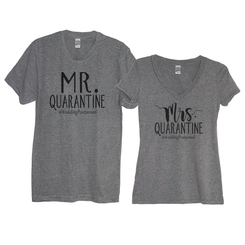 Heather Gray Mr. And Mrs. Quarantine #WeddingPostponed Men's Crew Neck And Women's V Neck Shirts With White Print - It's Your Day Clothing