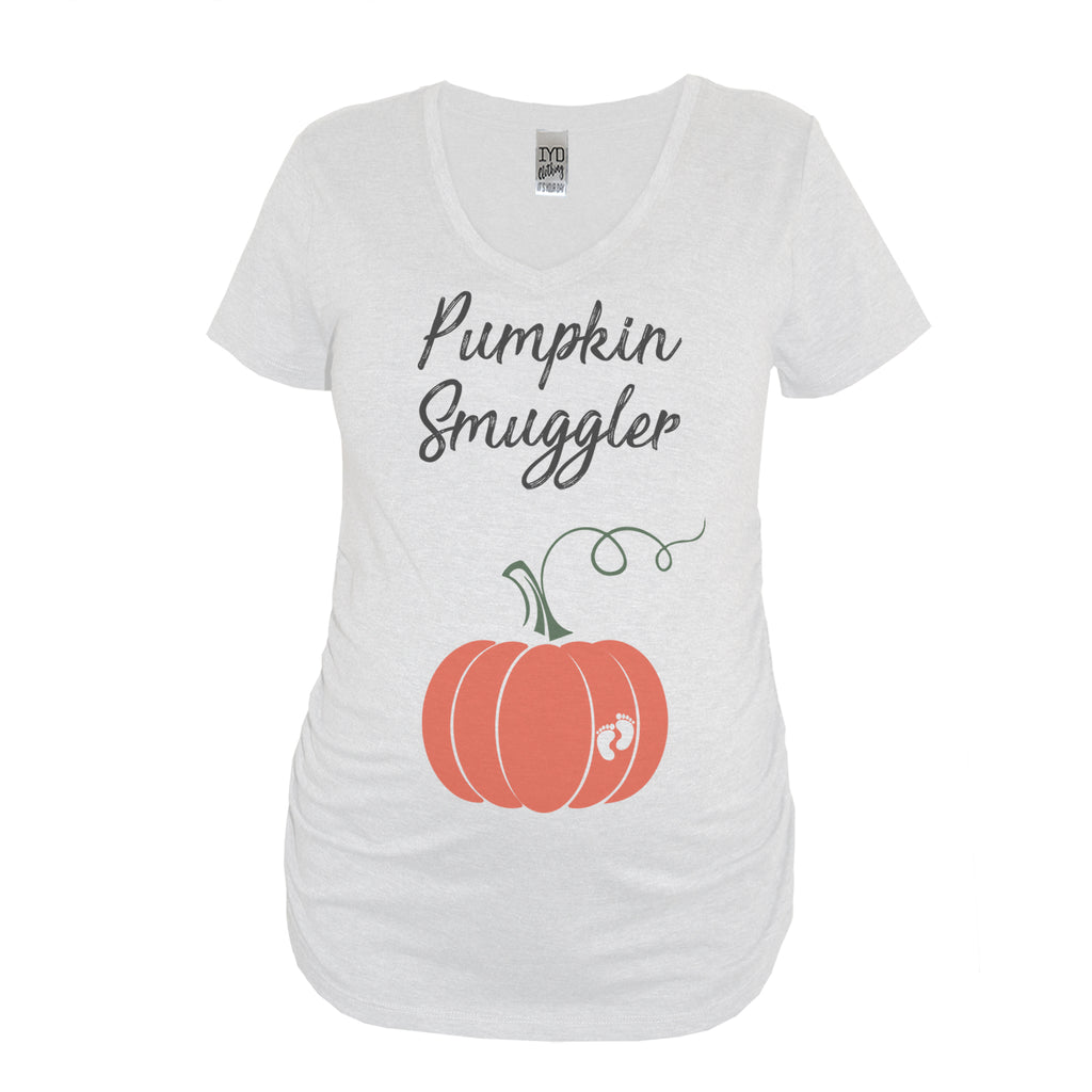 Pumpkin Smuggler White Maternity V Neck With Pumpkin Print On Belly - It's Your Day Clothing