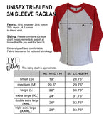Unisex Tri-Blend 3/4 Sleeve Raglan Size Chart - It's Your Day Clothing