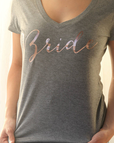 Bride V Neck Rose Gold Shirt - It's Your Day Clothing