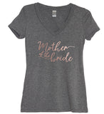 Rose Gold Bridal Party: Mother Of The Groom, Mother Of The Bride, or Aunt Of The Bride V Neck Shirt - It's Your Day Clothing