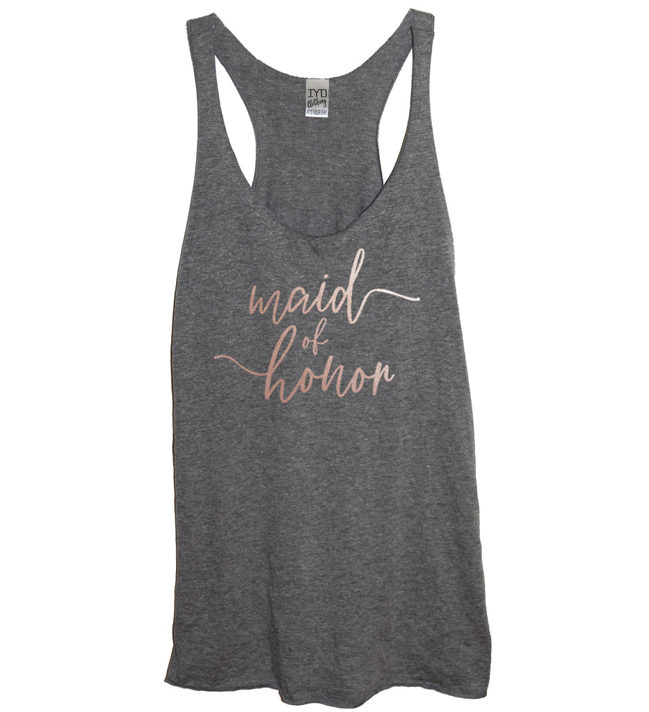 Rose Gold Bridal Party: Bride, Maid Of Honor, or Bridesmaid Tank - It's Your Day Clothing