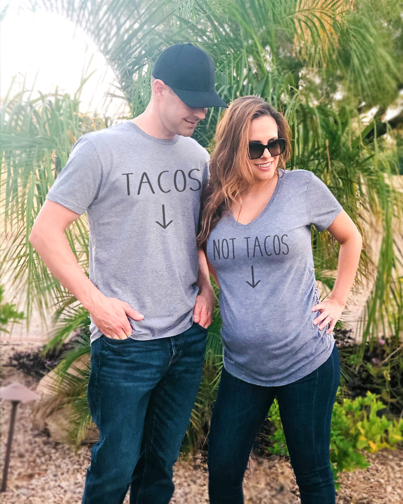 Tacos and Not Tacos Pregnancy Couple Shirt set - It's Your Day Clothing