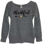 thankful glitter heart womens wide neck sweatshirt