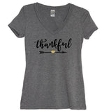 Thankful Glitter Heart V Neck Shirt - It's Your Day Clothing