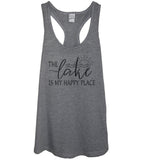 The Lake Is My Happy Place Heather Gray Tank Top - It's Your Day Clothing
