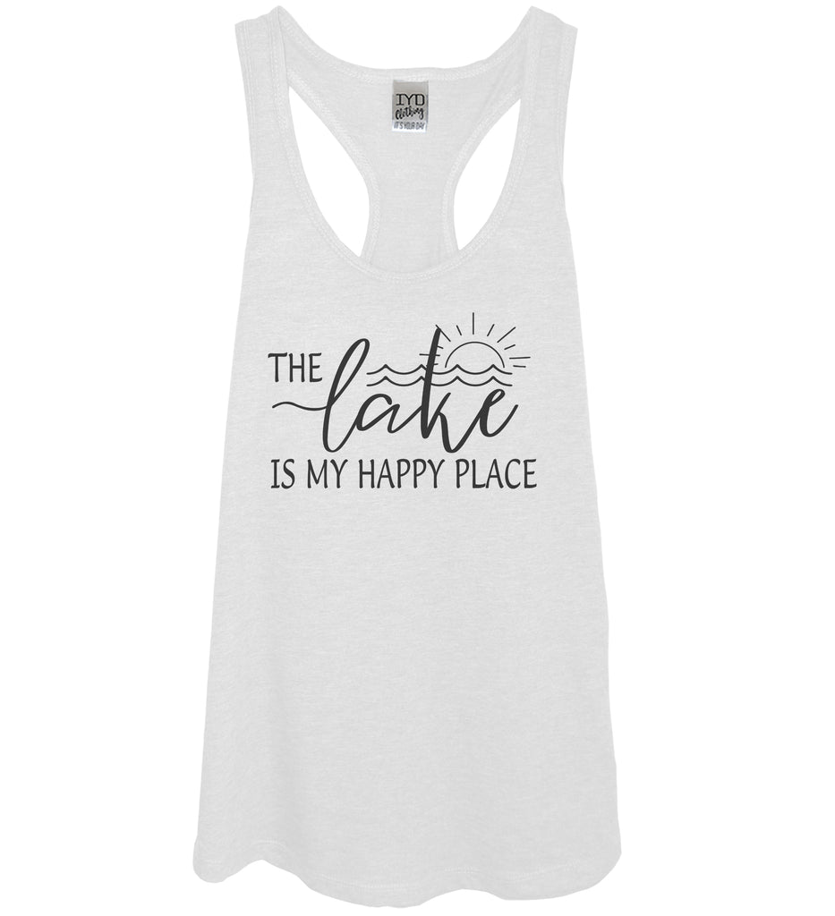 The Lake Is My Happy Place White Tank Top - It's Your Day Clothing