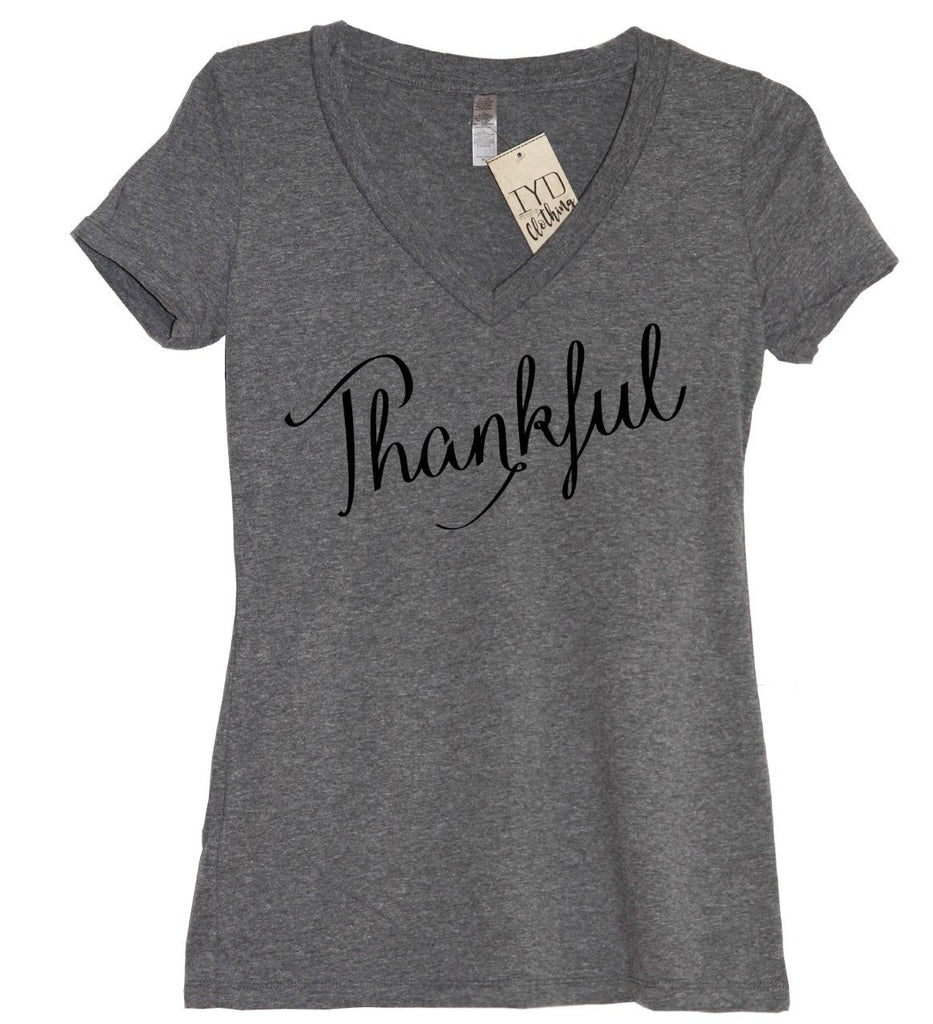 Thankful V Neck Shirt - It's Your Day Clothing